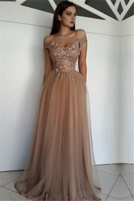 Stunning Off-the-Shoulder Beading Appliques Tulle A-Line Long Prom Dress UKes UK UK_1