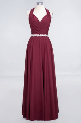 A-Line Chiffon Halter V-Neck Sleeveless Ruffle Long Bridesmaid Dress UK with Appliques Sashes_1