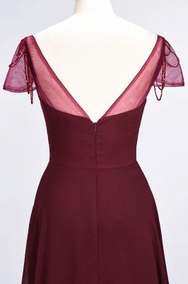 A-Line Chiffon Sweetheart Cap-Sleeves Ruffle Long Bridesmaid Dress UK with Beadings_7