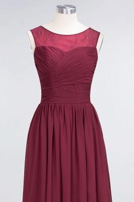 A-Line Chiffon Tulle Lace Scoop Sleeveless Long Bridesmaid Dress UK with Ruffle_4