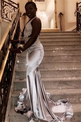 Chic Halter V-Neck Sleeveless Crystals Sequined Elegant Mermaid Prom Dress UKes UK UK_2