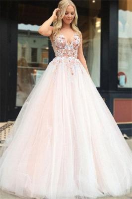 Gorgeous A-Line Straps V-Neck Sleeveless Beading Appliques Long Prom Dress UKes UK UK_1