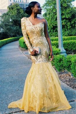 Gorgeous One Shoulder with Sleeves Elegant Mermaid Sweep Train Prom Dress UKes UK UK_5