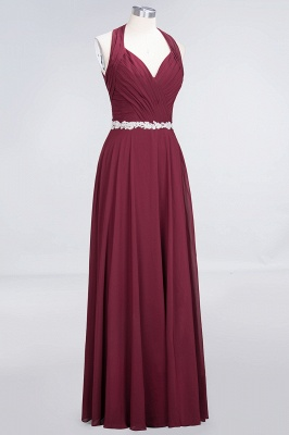 A-Line Chiffon Halter V-Neck Sleeveless Ruffle Long Bridesmaid Dress UK with Appliques Sashes_3