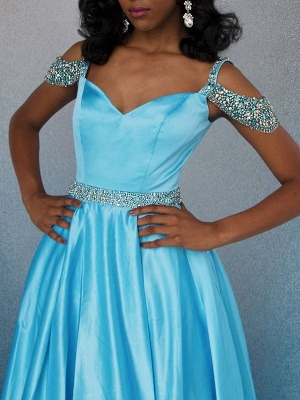 Chic Off-the-Shoulder A-Line Crystals Lace Long Prom Dress UKes UK UK_1