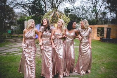 Elegant Sequin Bridesmaid Dress UKes UK | Rose Gold Long Wedding Guest Dress UKes UK_5