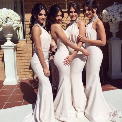 Timeless Halter Elegant Mermaid Bridesmaid Dress UKes UK | Elegant Ruched Long Wedding Party Dress UKes UK_4