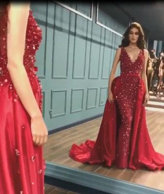 Sparkle Elegant Mermaid V-Neck Crystals Prom Dress UKes UK UK with Overskirt_5