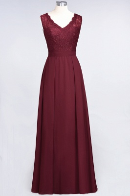 A-Line Chiffon Lace V-Neck Sleeveless Long Bridesmaid Dress UK_2