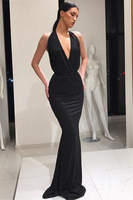 Stunning Deep V-Neck Sleeveless Lace-up Elegant Mermaid Long Prom Dress UKes UK UK_4