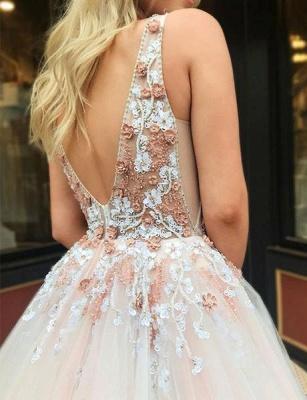 Gorgeous A-Line Straps V-Neck Sleeveless Beading Appliques Long Prom Dress UKes UK UK_5