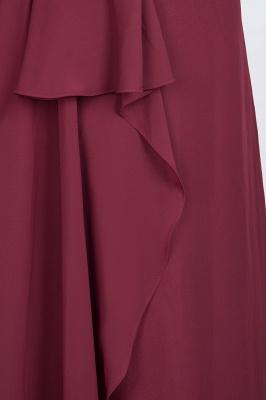 A-Line Chiffon Halter V-Neck Sleeveless Long Bridesmaid Dress UK with Ruffle_7