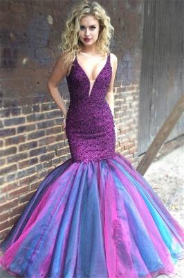 Timeless V-Neck Sleeveless Spaghetti Straps Crystals Elegant Mermaid Long Prom Dress UKes UK UK_1