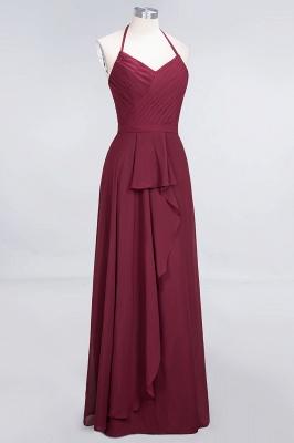 A-Line Chiffon Halter V-Neck Sleeveless Long Bridesmaid Dress UK with Ruffle_3