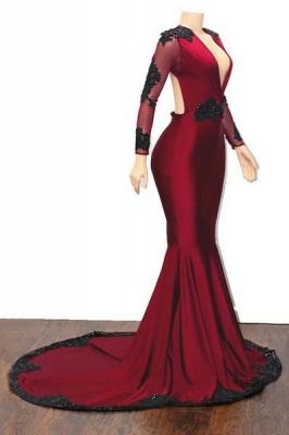 Special Design Deep Alluring V-neck Long Sleeves Appliques Elegant Mermaid Floor-Length Prom Dress UKes UK UK_3