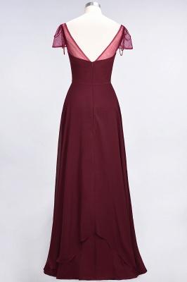 A-Line Chiffon Sweetheart Cap-Sleeves Ruffle Long Bridesmaid Dress UK with Beadings_3