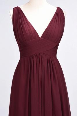 A-Line Chiffon V-Neck Sleeveless Long Bridesmaid Dress UK with Ruffle_5