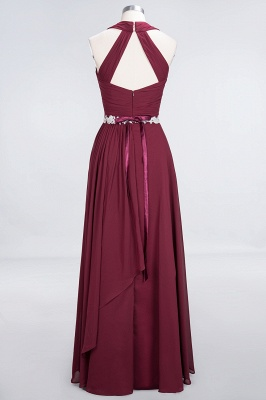 A-Line Chiffon Halter V-Neck Sleeveless Ruffle Long Bridesmaid Dress UK with Appliques Sashes_2