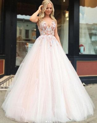 Gorgeous A-Line Straps V-Neck Sleeveless Beading Appliques Long Prom Dress UKes UK UK_3