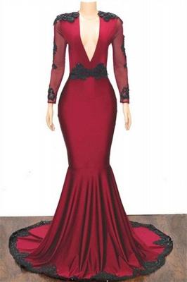 Special Design Deep Alluring V-neck Long Sleeves Appliques Elegant Mermaid Floor-Length Prom Dress UKes UK UK_1