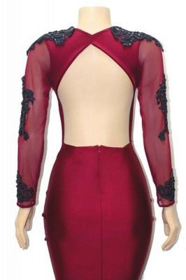 Special Design Deep Alluring V-neck Long Sleeves Appliques Elegant Mermaid Floor-Length Prom Dress UKes UK UK_4