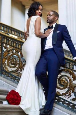 Chic Deep V-Neck Sleeveless Straps Elegant Mermaid Long Prom Dress UKes UK UK_3