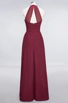 A-Line Chiffon Halter V-Neck Sleeveless Long Bridesmaid Dress UK with Ruffle_2