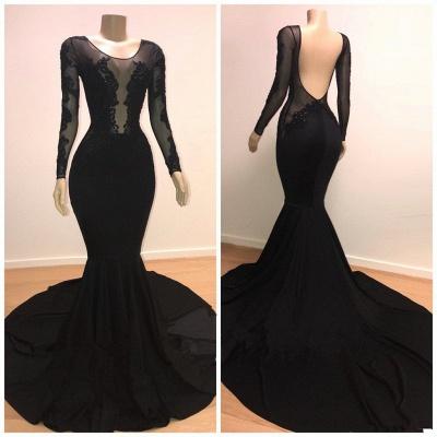 Speical Scoop with Sleeves Backless Appliques Tulle Elegant Mermaid Prom Dress UKes UK UK_3