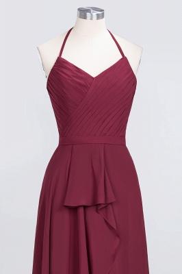 A-Line Chiffon Halter V-Neck Sleeveless Long Bridesmaid Dress UK with Ruffle_4