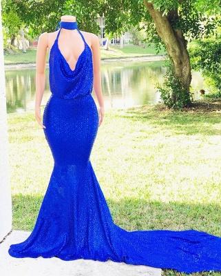 Special Design Halter Sleeveless Elegant Mermaid Floor length Alluring V-neck Prom Dress UKes UK UK_4