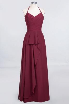 A-Line Chiffon Halter V-Neck Sleeveless Long Bridesmaid Dress UK with Ruffle_1