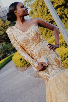 Gorgeous One Shoulder with Sleeves Elegant Mermaid Sweep Train Prom Dress UKes UK UK_3