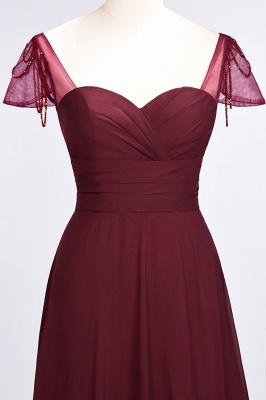 A-Line Chiffon Sweetheart Cap-Sleeves Ruffle Long Bridesmaid Dress UK with Beadings_5