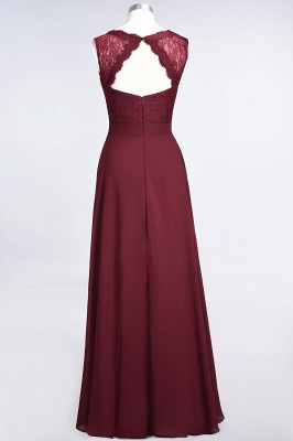 A-Line Chiffon Lace V-Neck Sleeveless Long Bridesmaid Dress UK_3