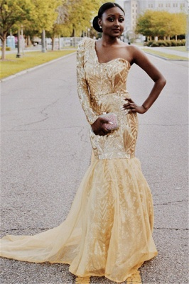 Gorgeous One Shoulder with Sleeves Elegant Mermaid Sweep Train Prom Dress UKes UK UK_1