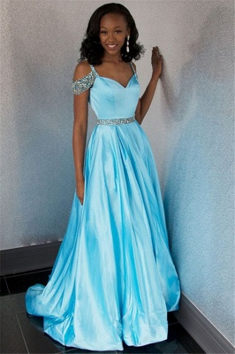 Chic Off-the-Shoulder A-Line Crystals Lace Long Prom Dress UKes UK UK_2