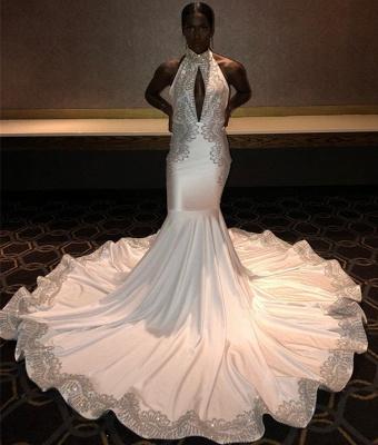 Chic Halter Sleeveless Appliques Elegant Mermaid Sweep Train Prom Dress UKes UK UK_3