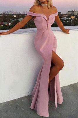 Speical Off-the-Shoulder V-Neck Front Slit Elegant Mermaid Long Prom Dress UKes UK UK_1