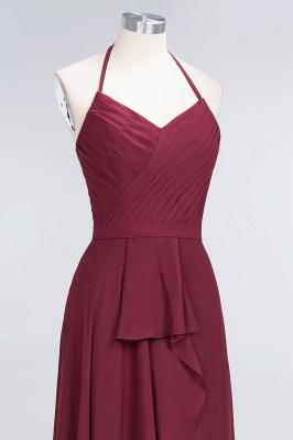 A-Line Chiffon Halter V-Neck Sleeveless Long Bridesmaid Dress UK with Ruffle_5