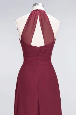A-Line Chiffon Halter V-Neck Sleeveless Long Bridesmaid Dress UK with Ruffle_6