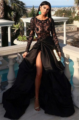 Gorgeous Scoop with Sleeves Appliques A-Line Front Slit Prom Dress UKes UK UK_1