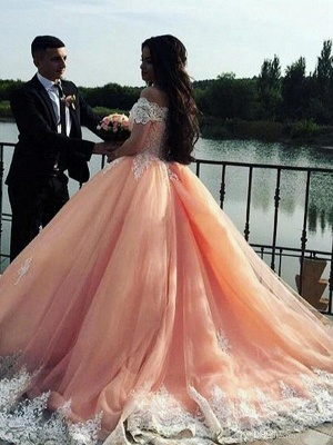 Timeless Off-the-Shoulder Appliques Ball Gown Tulle Sweep Train Prom Dress UKes UK UK_3