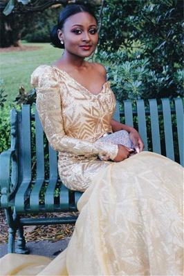 Gorgeous One Shoulder with Sleeves Elegant Mermaid Sweep Train Prom Dress UKes UK UK_4