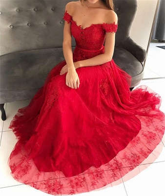 Stunning Off-the-Shoulder Appliques Tulle A-Line Long Prom Dress UKes UK UK_4