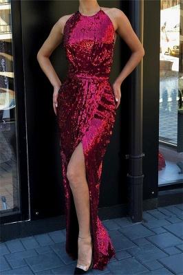 Stunning Halter Sleeveless Sequined Front Slit Elegant Mermaid Long Prom Dress UKes UK UK_1