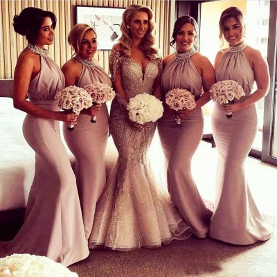 Timeless Halter Elegant Mermaid Bridesmaid Dress UKes UK | Elegant Ruched Long Wedding Party Dress UKes UK_3