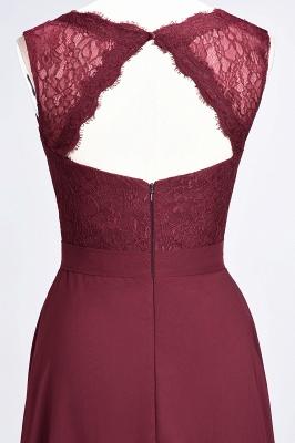 A-Line Chiffon Lace V-Neck Sleeveless Long Bridesmaid Dress UK_7