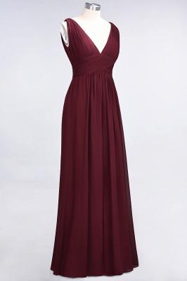 A-Line Chiffon V-Neck Sleeveless Long Bridesmaid Dress UK with Ruffle_4