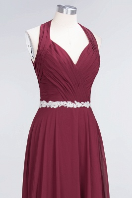 A-Line Chiffon Halter V-Neck Sleeveless Ruffle Long Bridesmaid Dress UK with Appliques Sashes_4