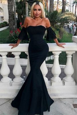 Stunning Off-the-Shoulder Short Sleeves Elegant Mermaid Long Prom Dress UKes UK UK_1